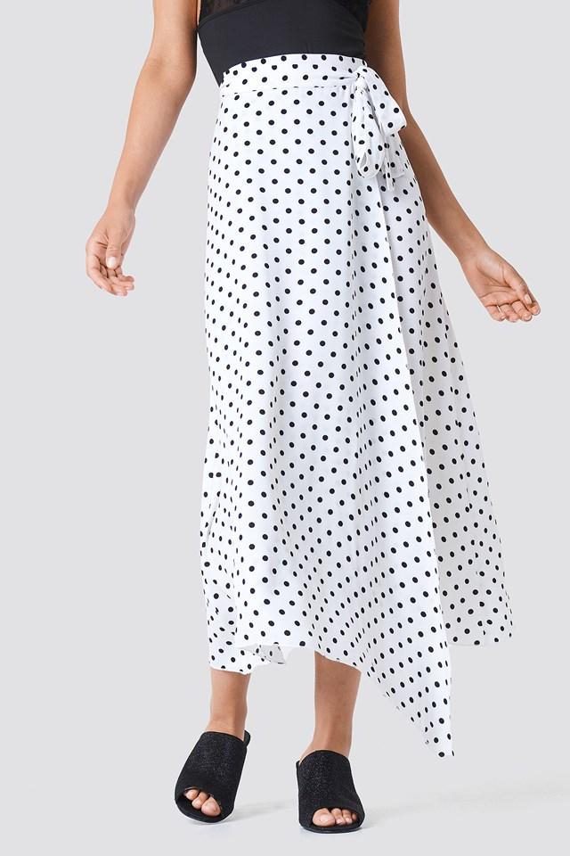 Wrap Over Tie Waist Midi Skirt White/Black Dot