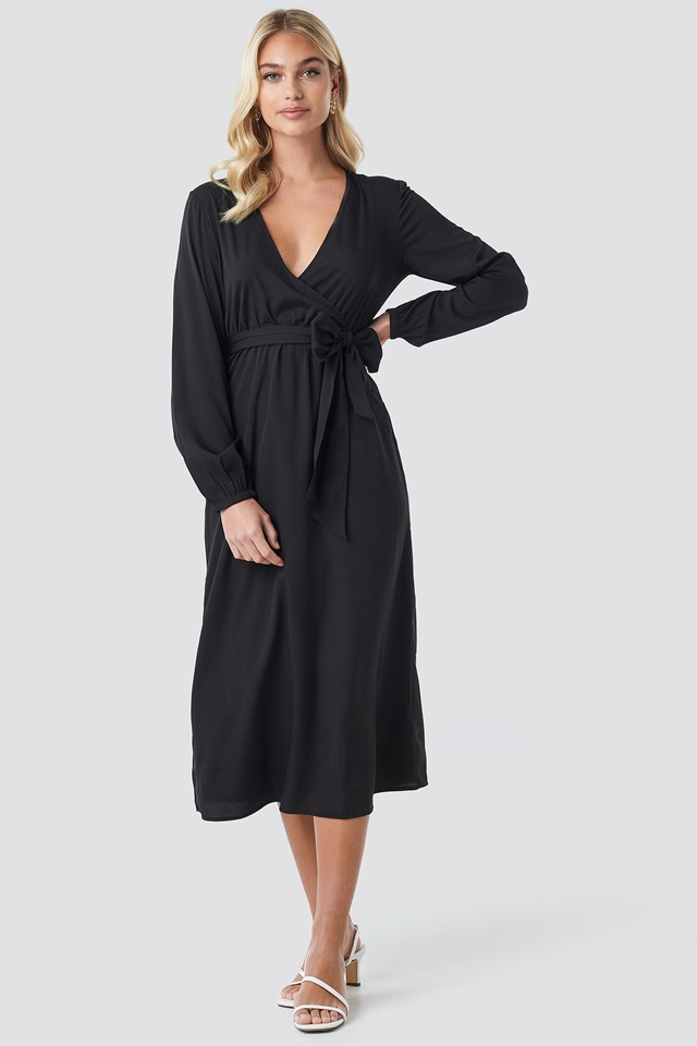 Wrap Over Tie Waist LS Dress Black