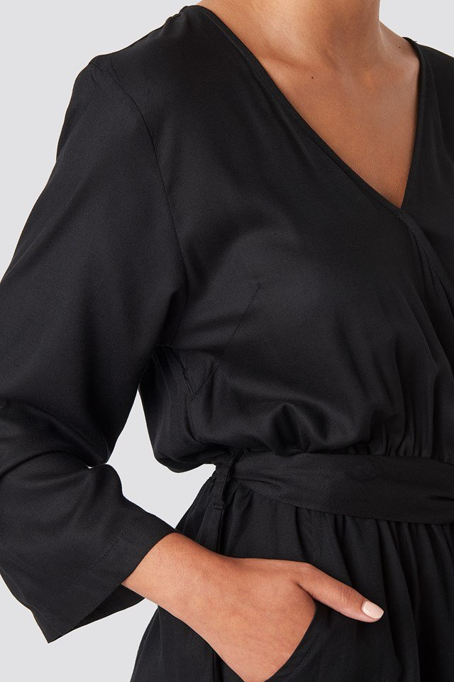 Wrap Playsuit Black