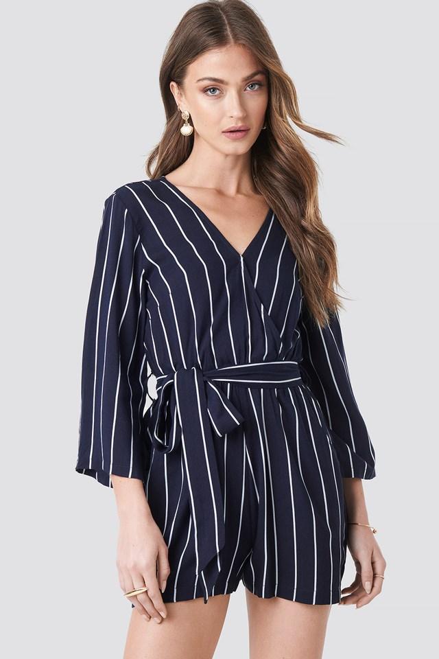 Wrap Playsuit Blue Stripe