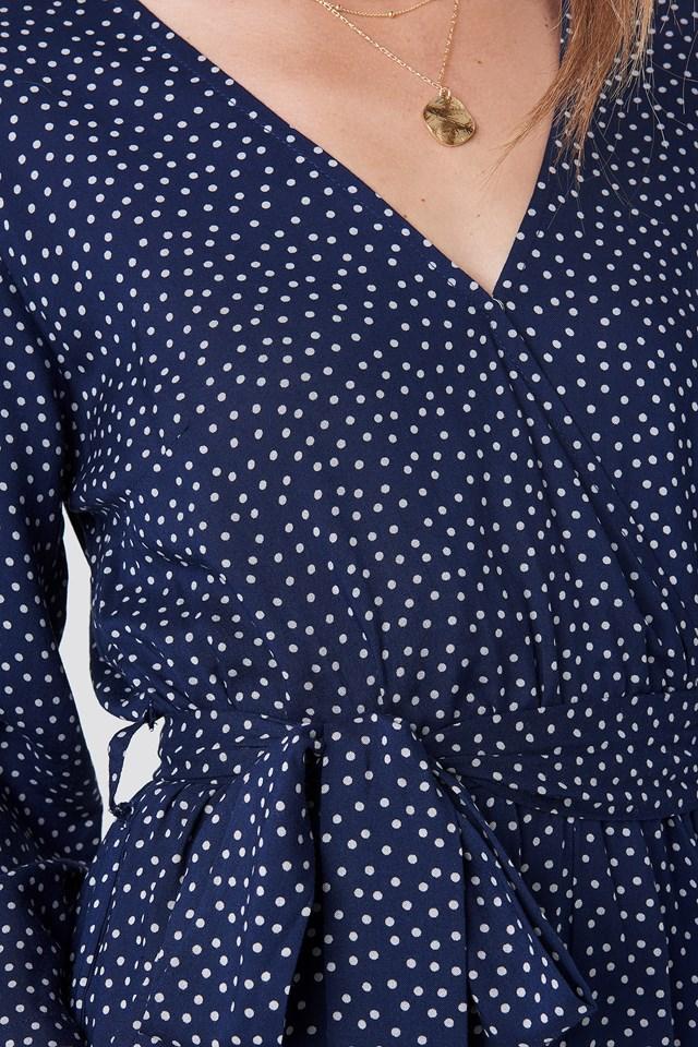 Wrap Playsuit Blue/White Dot