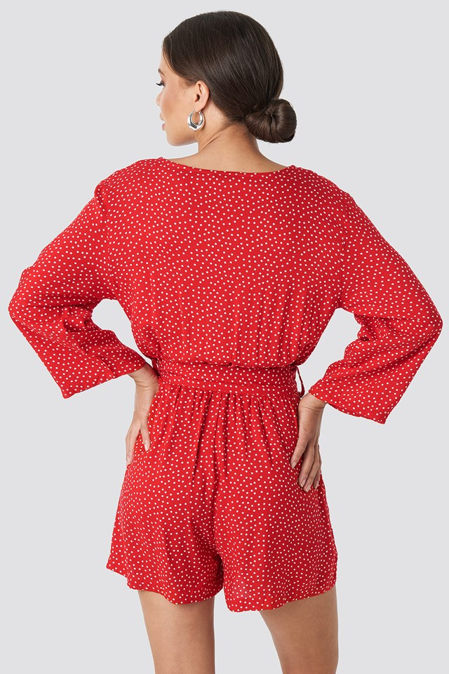 Wrap Playsuit Red/White Dots