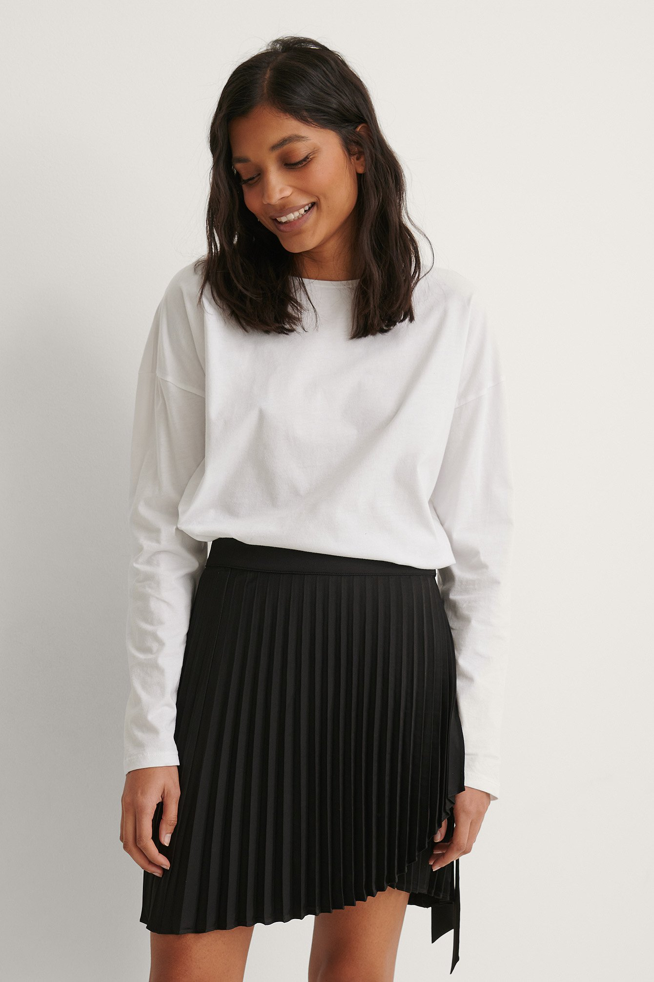 Black Wrap Pleated Mini Skirt