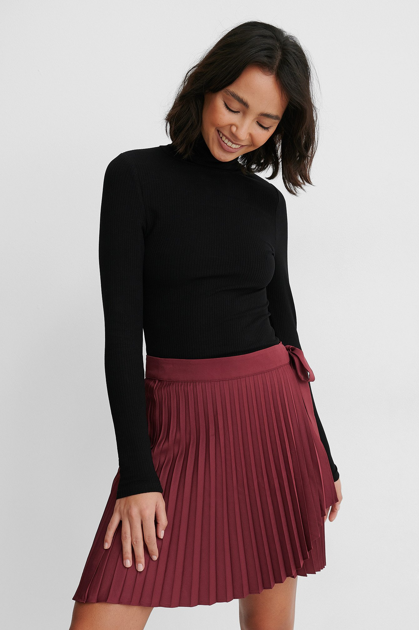 Burgundy Wrap Pleated Mini Skirt