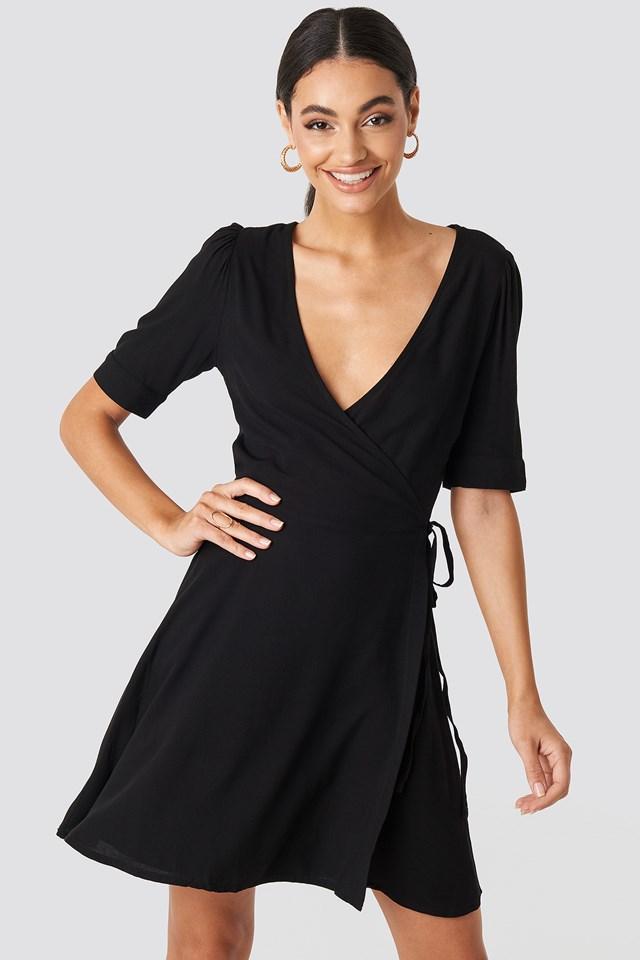 Wrap Puff Sleeve Mini Dress Deep Black