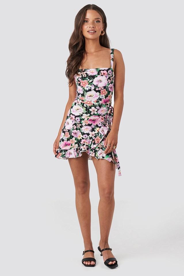 Wrap Ruffle Hem Mini Dress Print