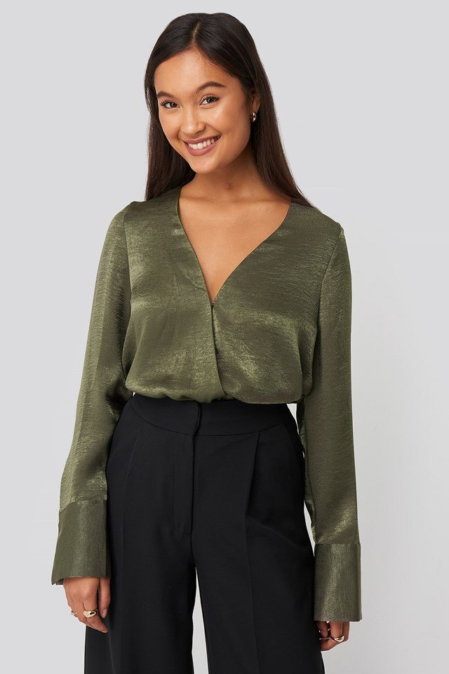 Wrap Satin Blouse Green