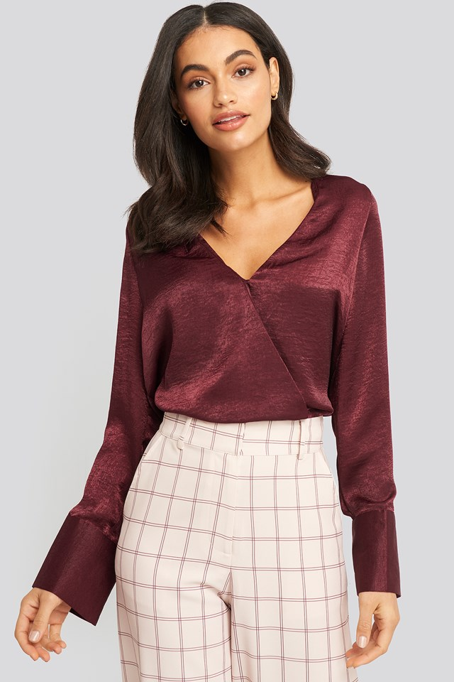 Wrap Satin Blouse Burgundy