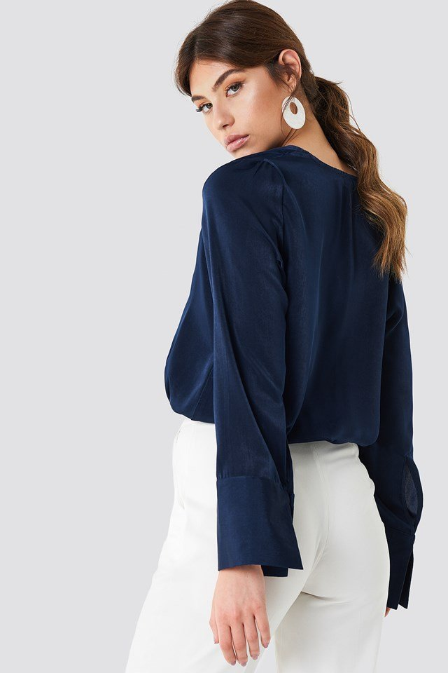 Wrap Satin Top Dark Blue