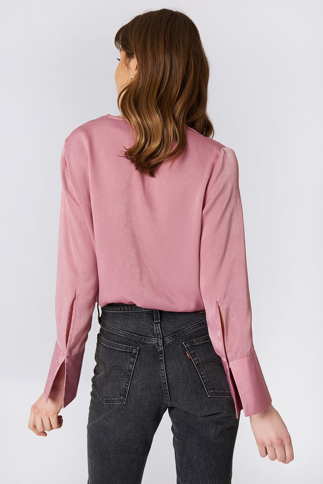 Wrap Satin Top Dusty Pink