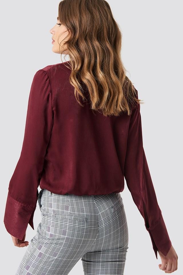 Kopertowy bluzka z satyny Burgundy