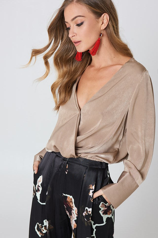Wrap Satin Top Dark Sand