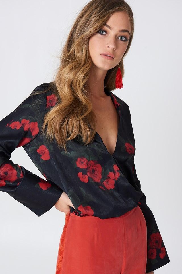 Kopertowy bluzka z satyny Wildflower Black/Red
