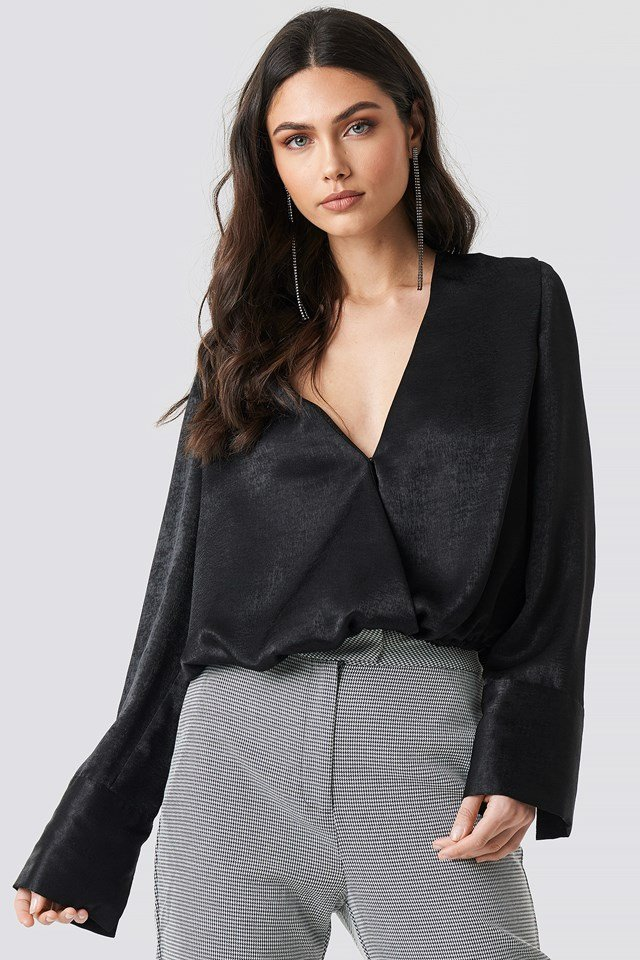 Wrap Satin Top Black