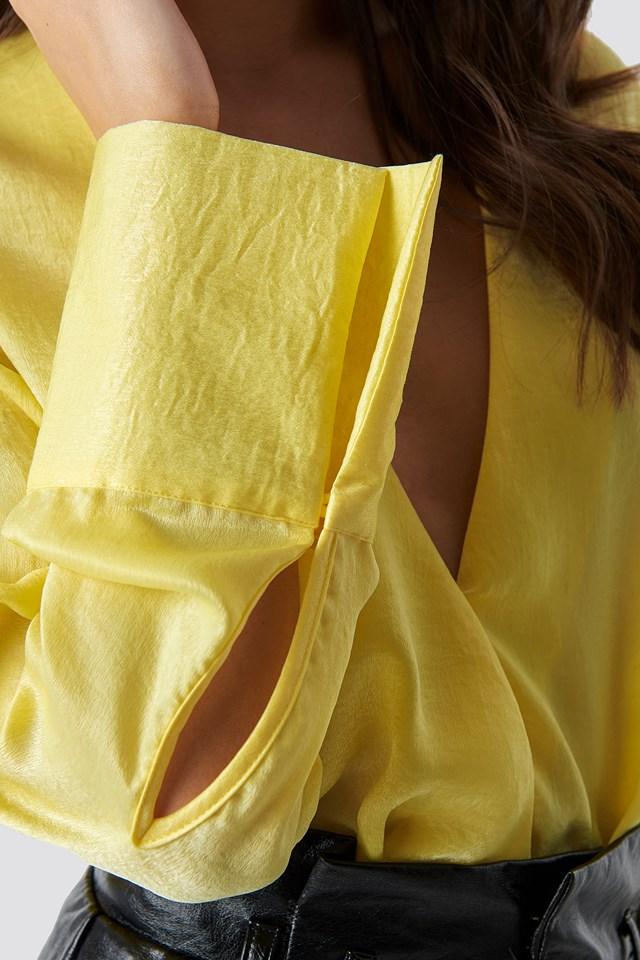 Kopertowy bluzka z satyny Light Yellow