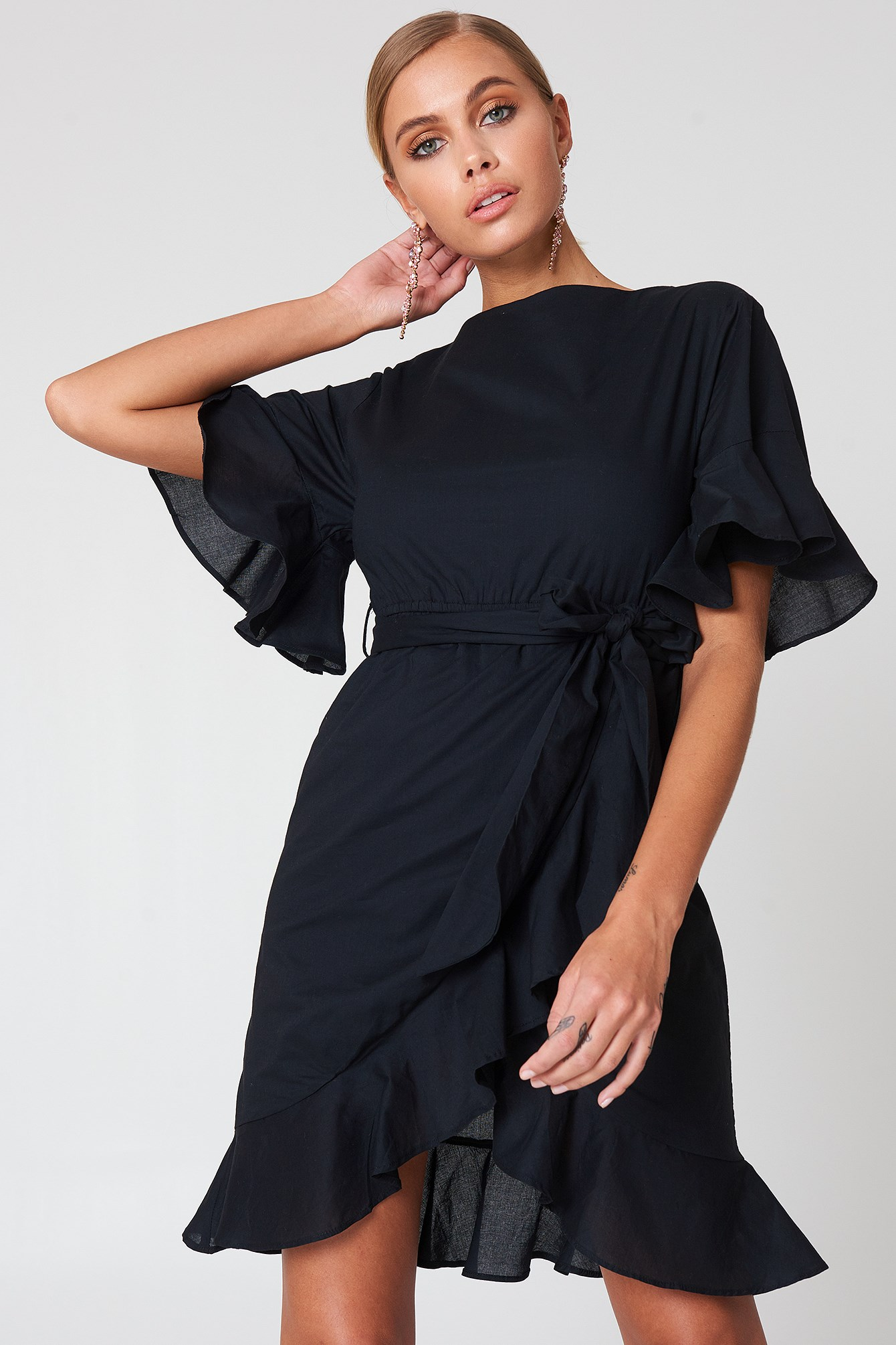 Wrap Skirt Flounce Sleeve Dress NA-KD.COM