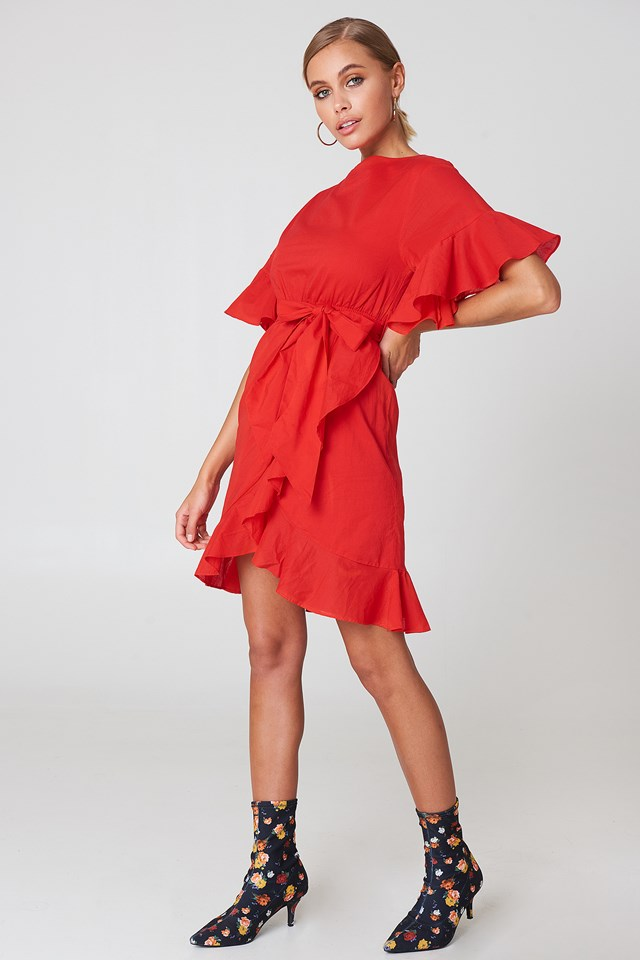 Wrap Skirt Flounce Sleeve Dress Red