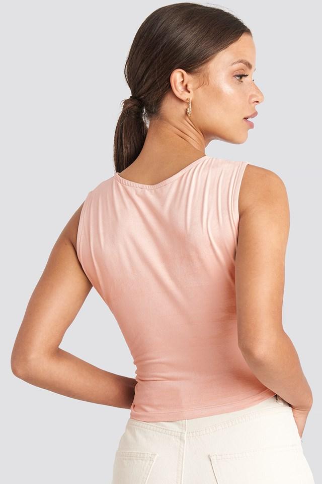 Wrap Sleeveless Crop Top Pink