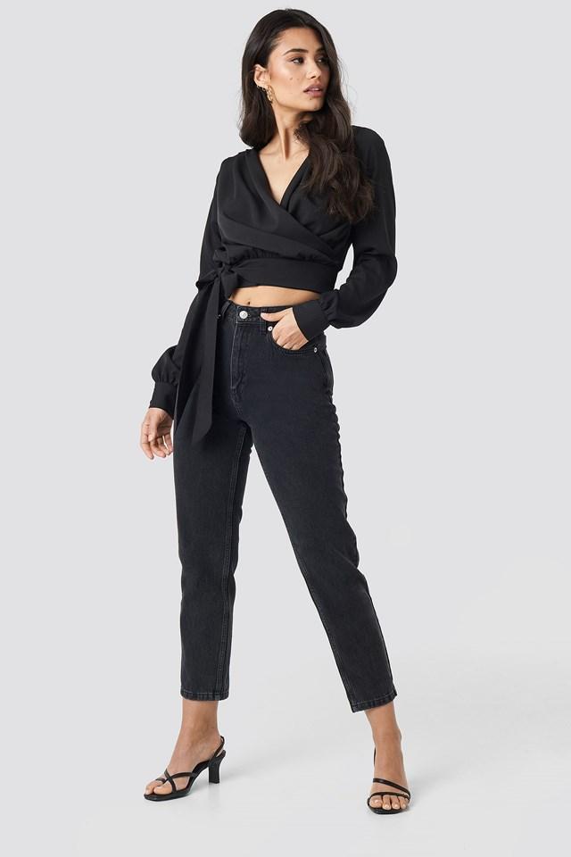 Wrap Tie Blouse Black