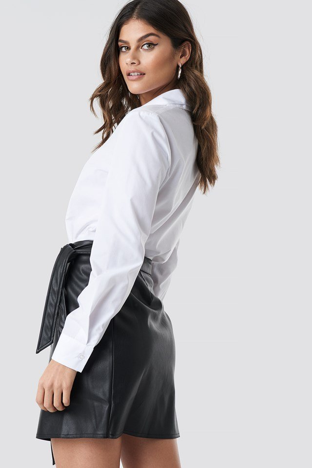 Wrap Tie Mini Skirt Black
