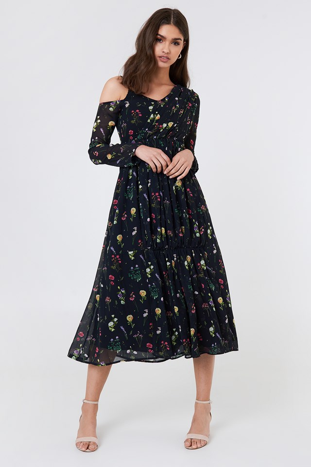 Wrap Top Asymmetric Dress Black/Mixed Flowers