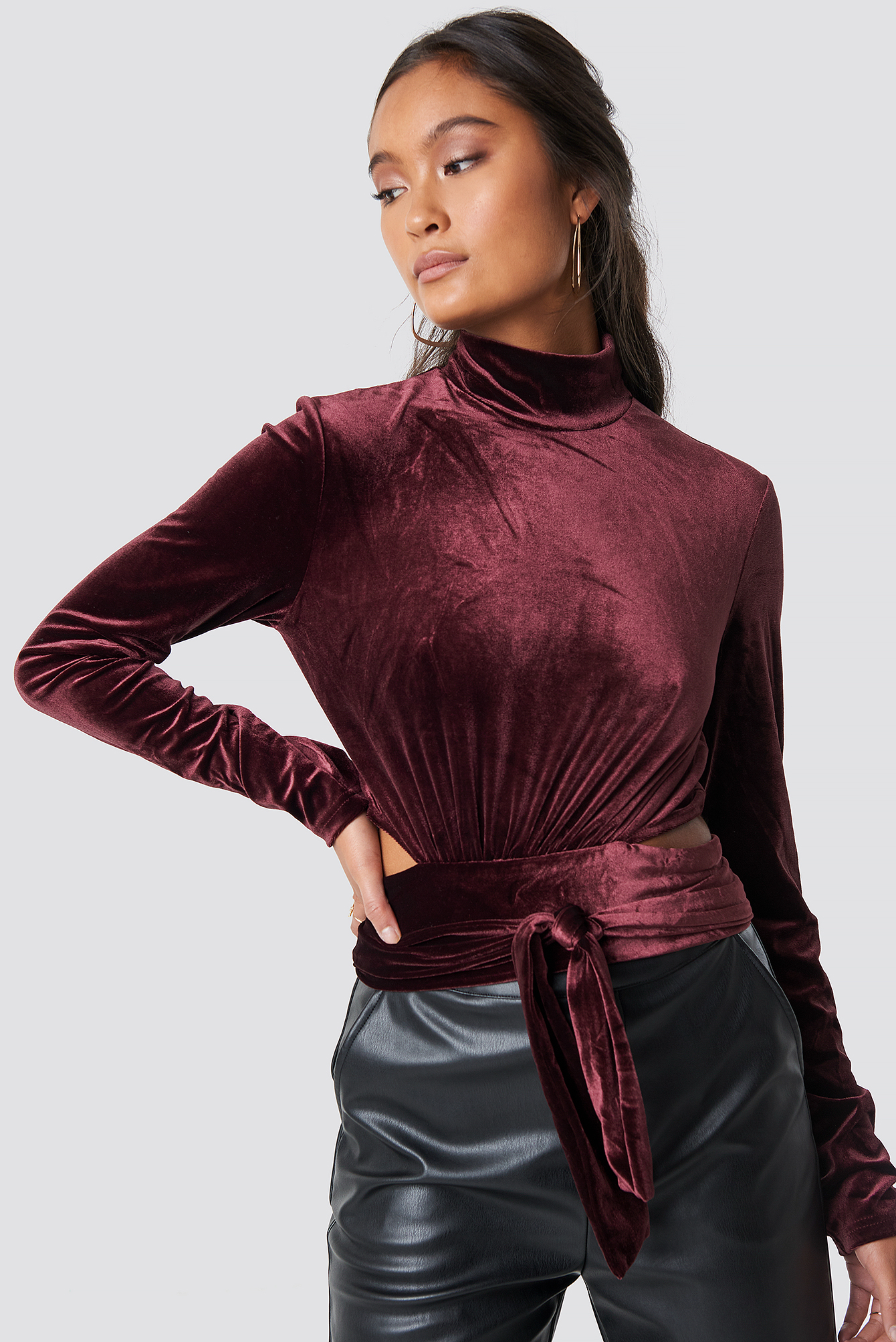 na-kd party -  Wrap Waist Velvet Top - Red