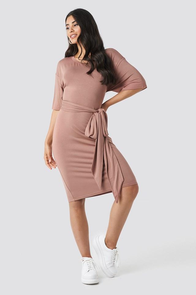 Wrapped Detail Jersey Dress Dusty Dark Pink
