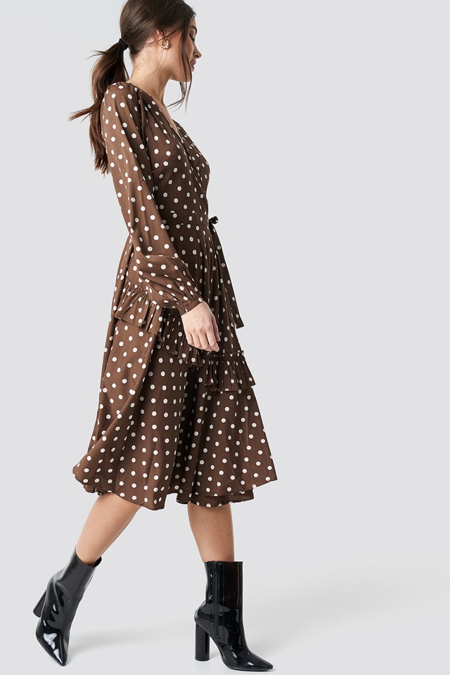 Wrapped Dot Midi Dress Brown/White Dots