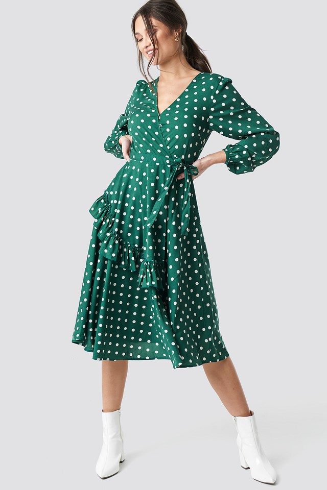 Wrapped Dot Midi Dress Green/White Dot