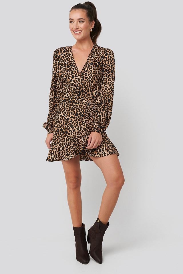 Wrapped Flounce Mini Dress Leopard