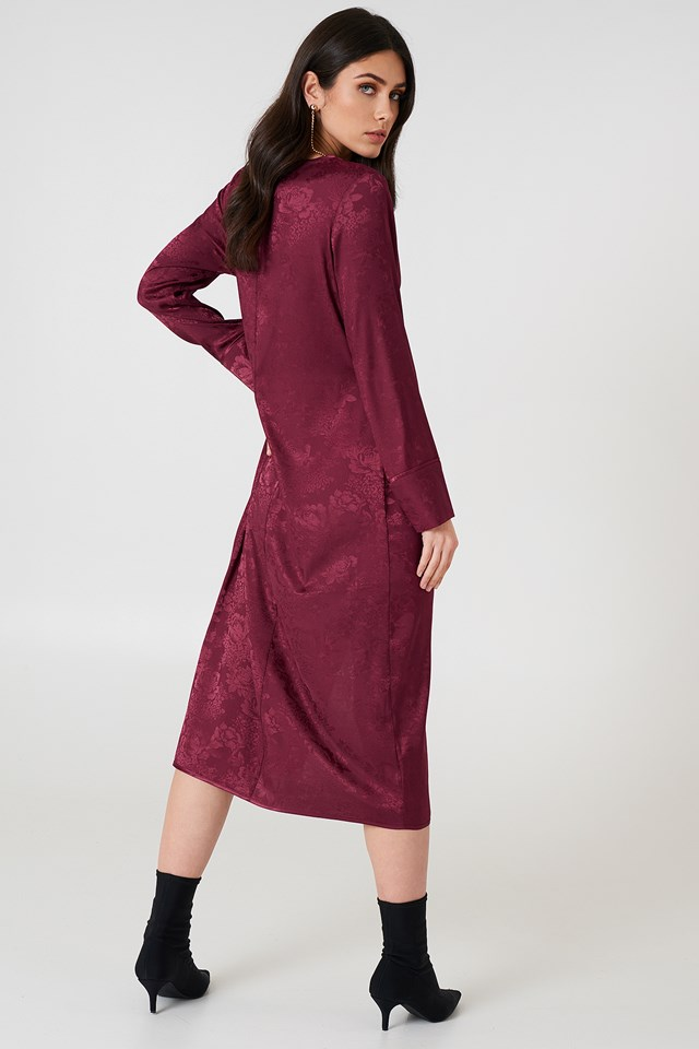 Wrapped Jacquard Satin Dress Burgundy