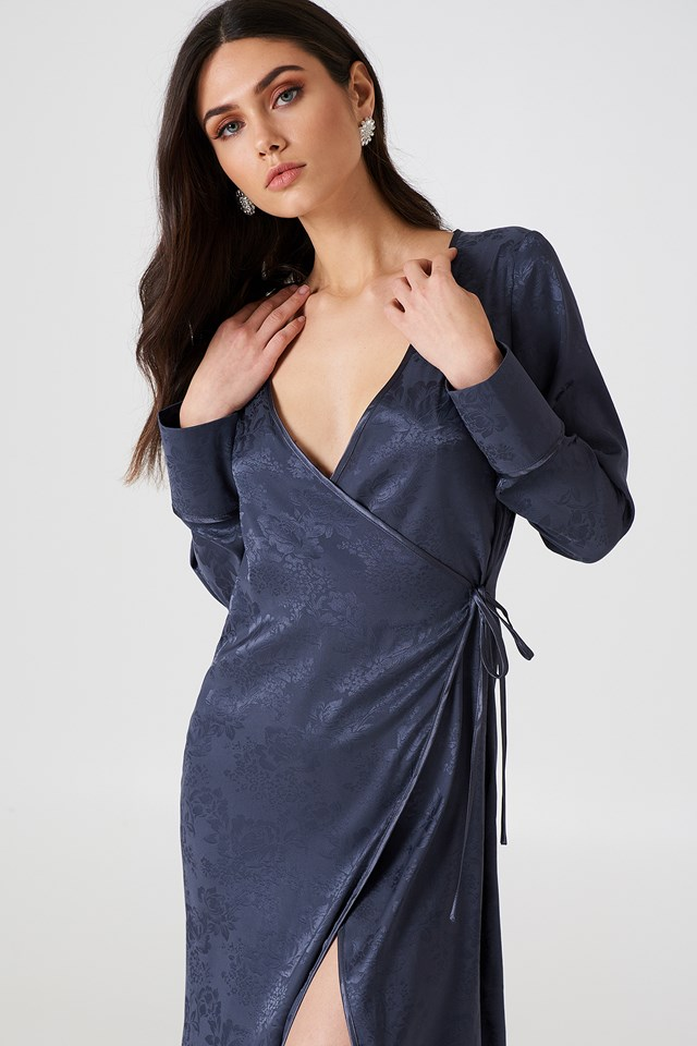 Wrapped Jacquard Satin Dress Midnight Blue