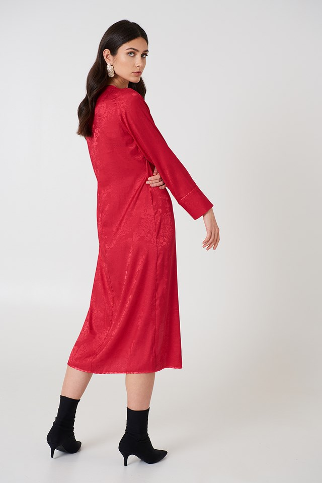 Wrapped Jacquard Satin Dress Cherry