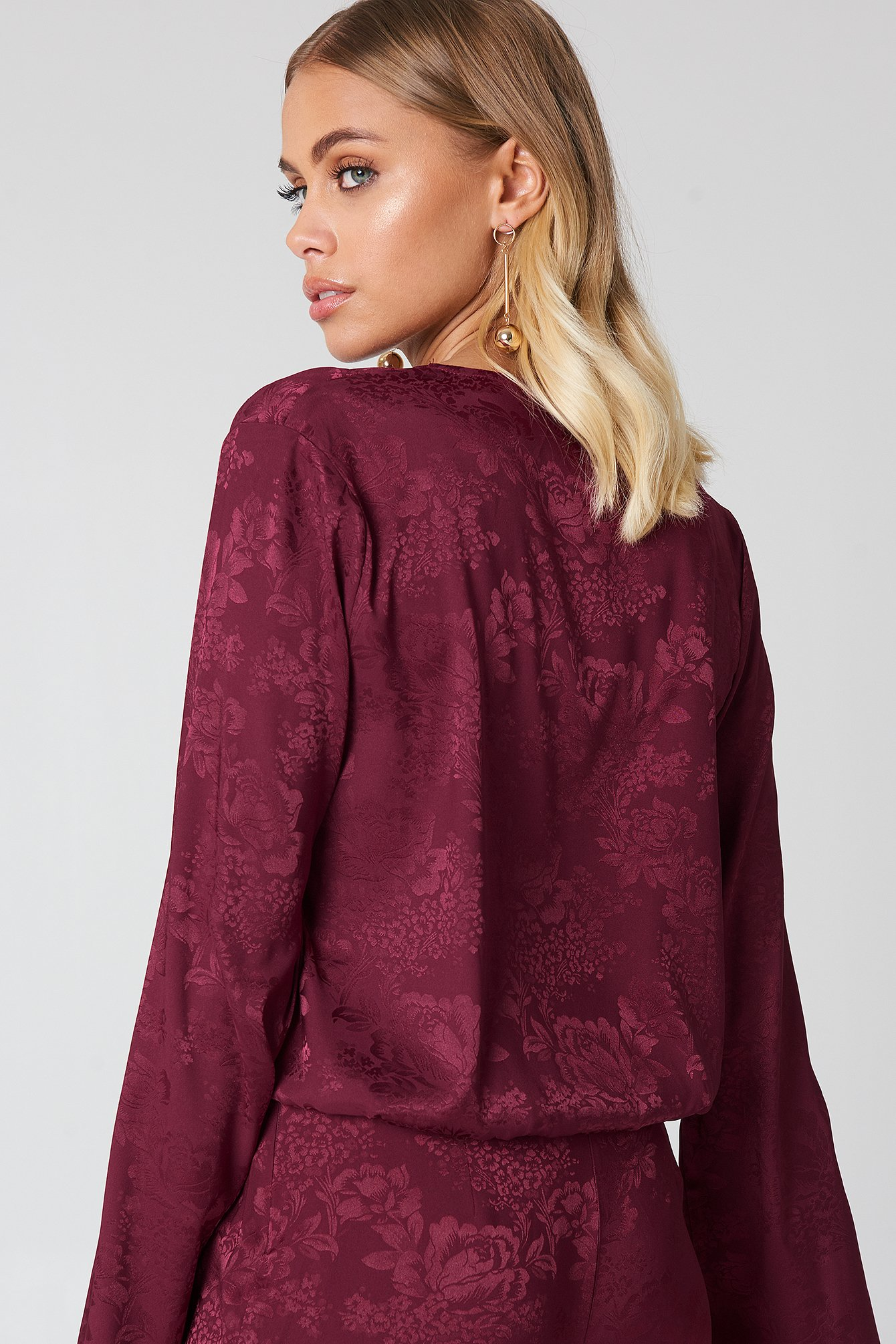Wrapped Jacquard Satin Top NA-KD.COM