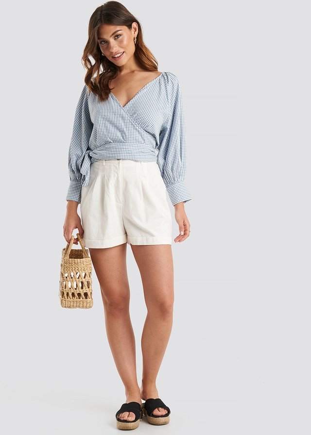 Wrapped Puff Sleeve Top White/Blue