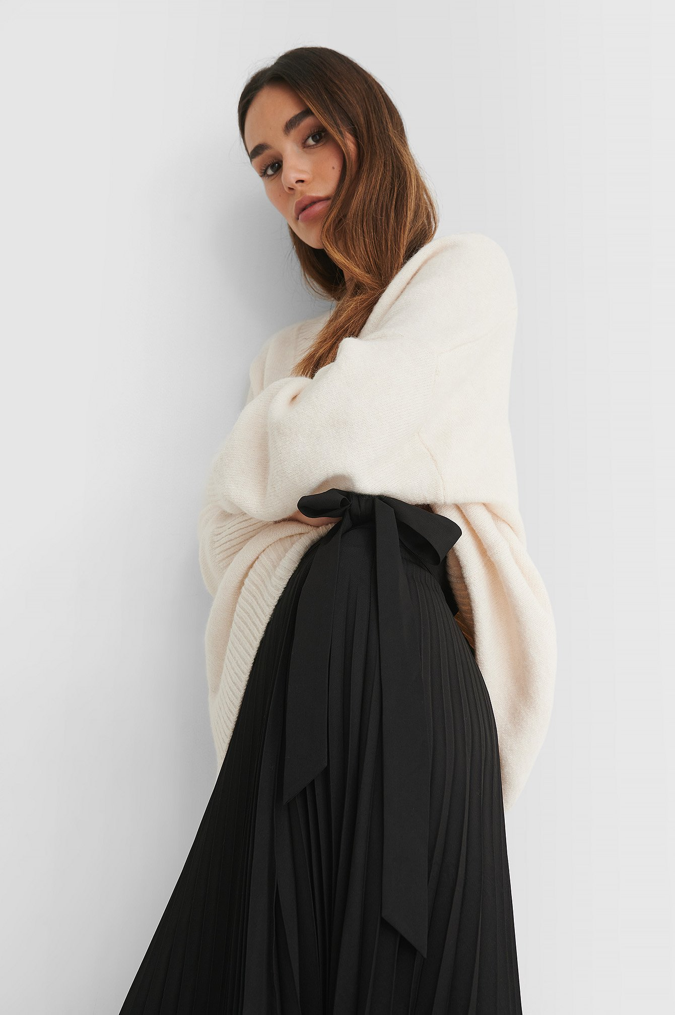 Black Wrap Pleated Midi Skirt