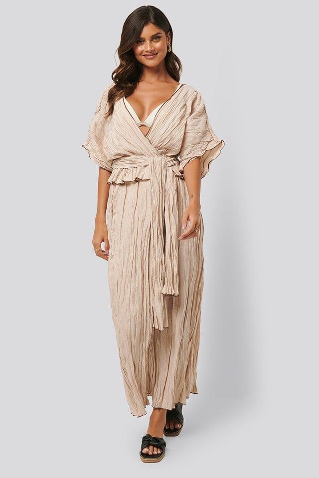 Wrinkle Effect Maxi Dress Beige