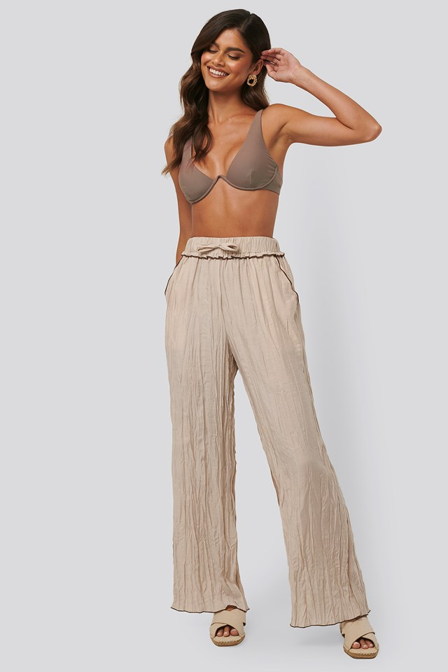 Wrinkle Effect Pants Beige