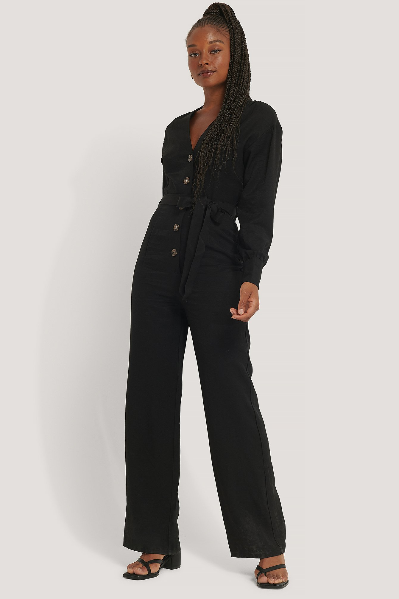 Black Wrinkle Shoulder Jumpsuit