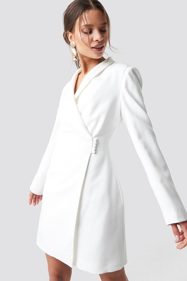 Buttoned Blazer Dress White