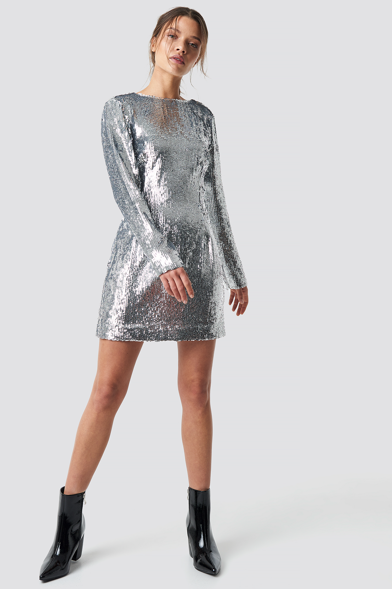 Deep Back Sequin Dress NA-KD.COM