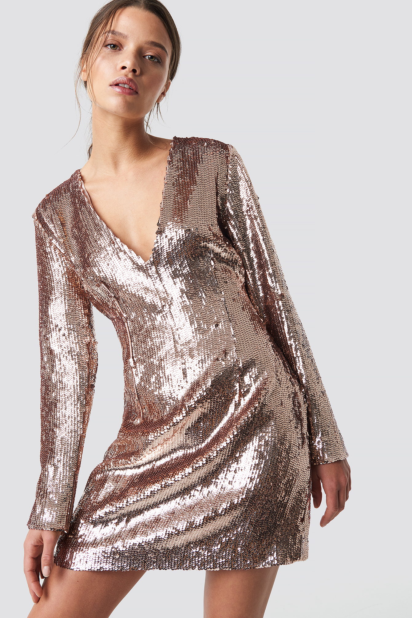 Sequin V-Neck Dress NA-KD.COM