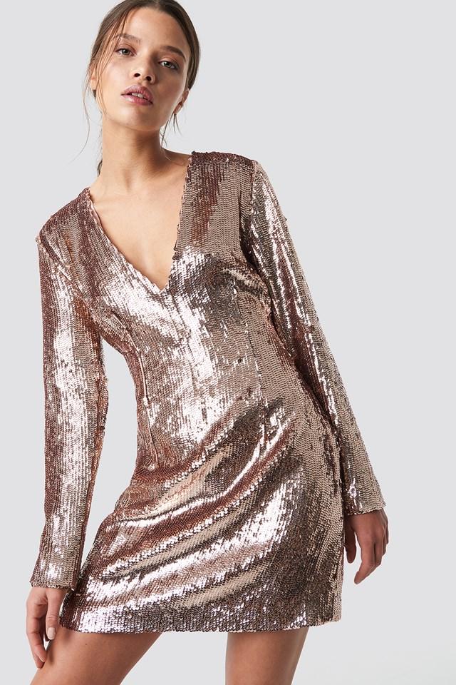 Sequin V-Neck Dress Champagne