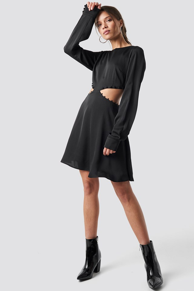 Flirty Short Buttoned Dress Black