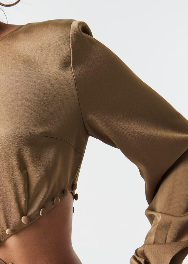 Flirty Short Buttoned Dress Beige