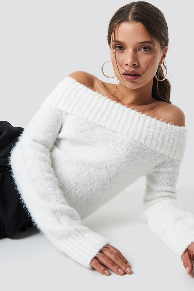Fluffy Off Shoulder Knit White