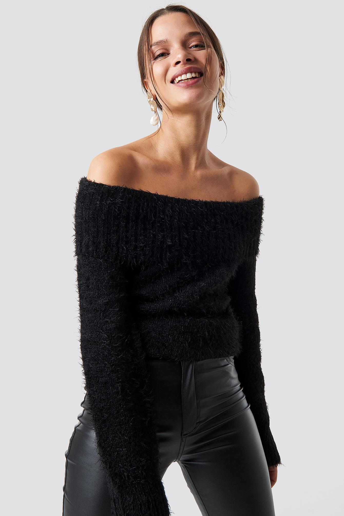 iva nikolina x na-kd -  Fluffy Off Shoulder Knit - Black