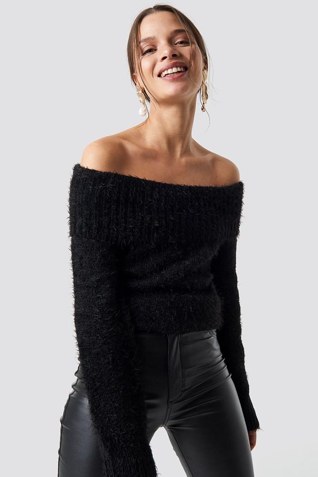 Fluffy Off Shoulder Knit NA-KD.COM
