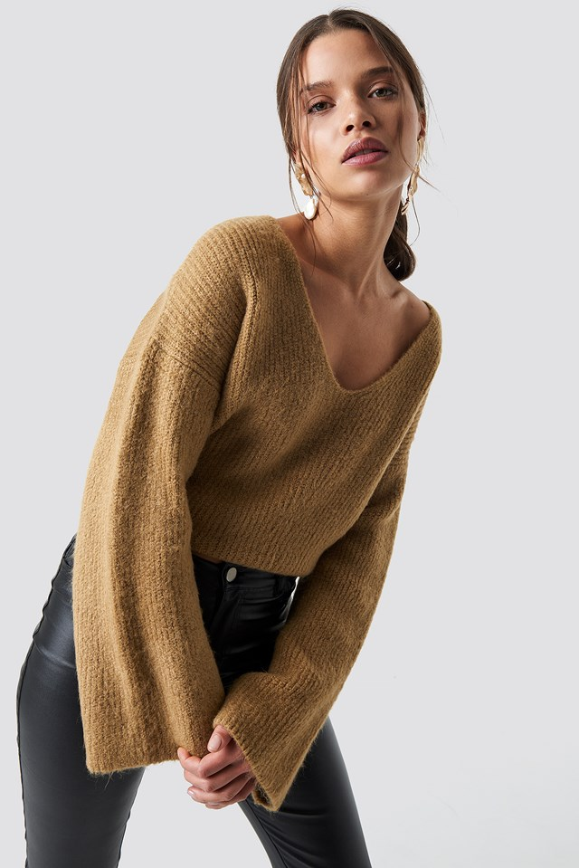 Loose Fit Knitted Sweater Beige