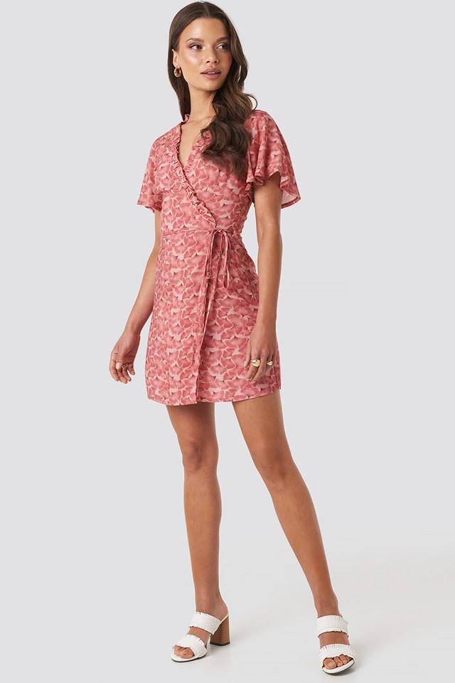 Bailee Wrap Short Dress Red Flower